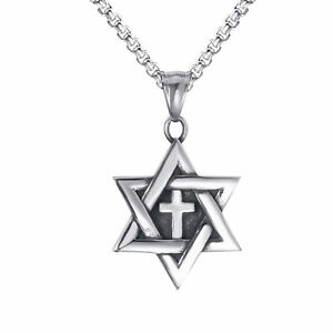 Star-of-David-Messianic-cross-Solid-Stainless-Steel-Pendant-Necklace-Chain-Set