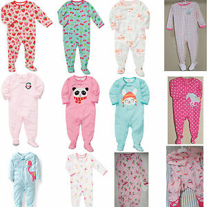 15fe7f4030eb NEW Carter s Carters Girls Footed Pajamas NB 3 6 9 12 18 24 Months ...