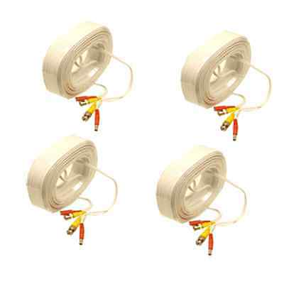 4 x 45 Ft CCTV Cameras Video White Cable BNC+Power