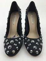 Zara Womens Size 7.5 Shoes Embellished Jewelry Black Satin Slip On Heels