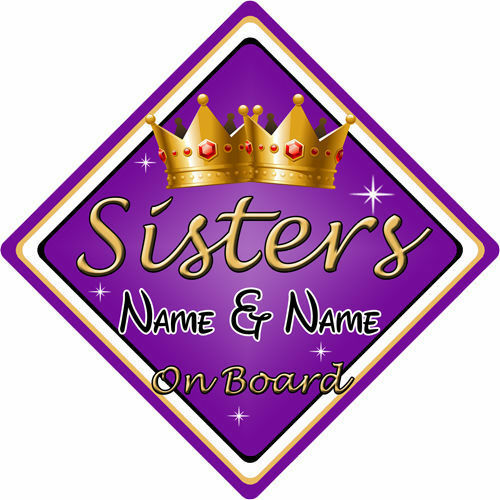 Personalised Child//Baby On Board Car Sign ~ Sisters On Board ~ Purple