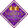 Personalised Child/Baby On Board Car Sign ~ Sisters On Board ~ Purple