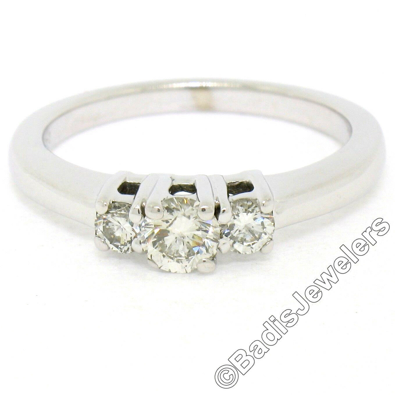14K White gold 3 Stone 0.50ctw Round Brilliant Diamond Promise Engagement Ring