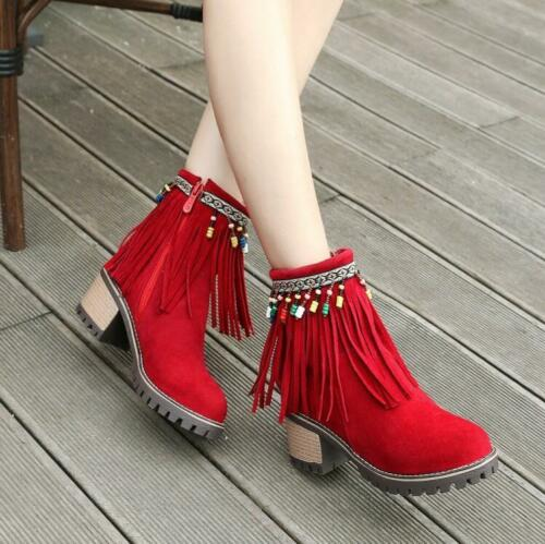Womens Chunky Heels Side Zip Fringe Beads Warm Ankle Boots Suede Round Toe U991