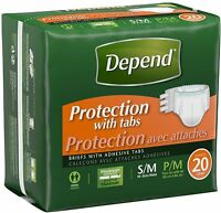 Depend Protection Incontinence, Maximum Absorbency, Small/medium 20 Ea 2pk on sale