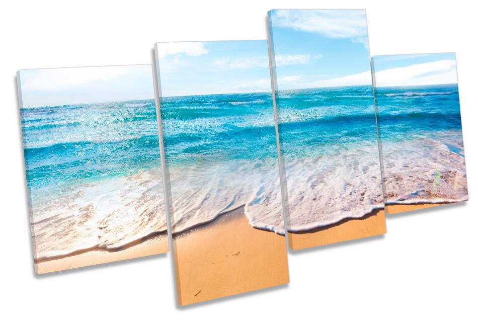 Beach Blau Sandy Seascape Picture MULTI CANVAS WALL ART Print