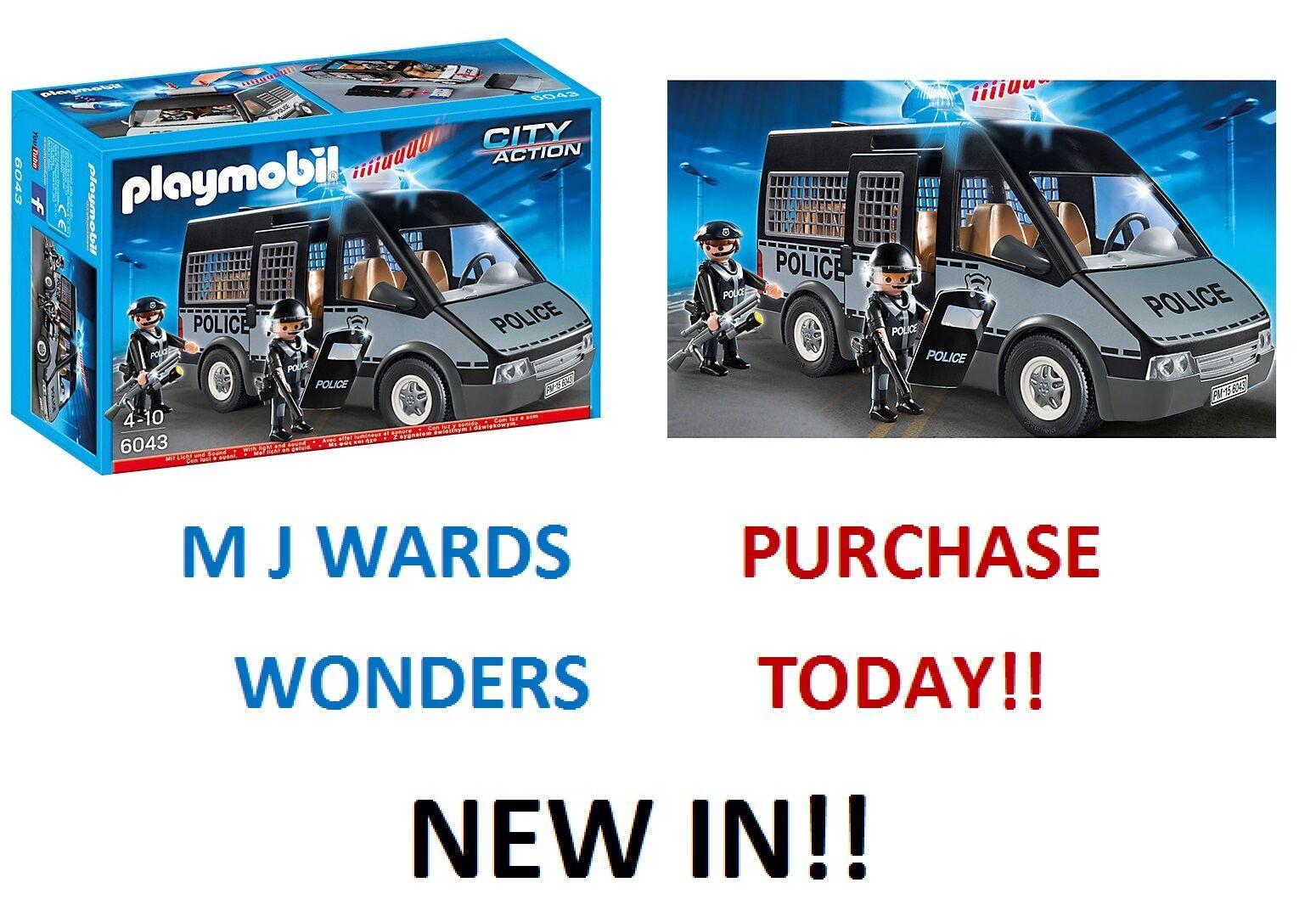 Playmobil city 6043-action police van avec  lumières et sons  meilleure mode