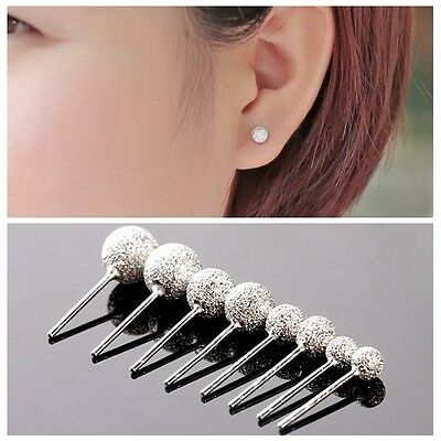 Womens 925 sterling Silver Grind Sand Ball Ear stud Earrings Jewelry Gift