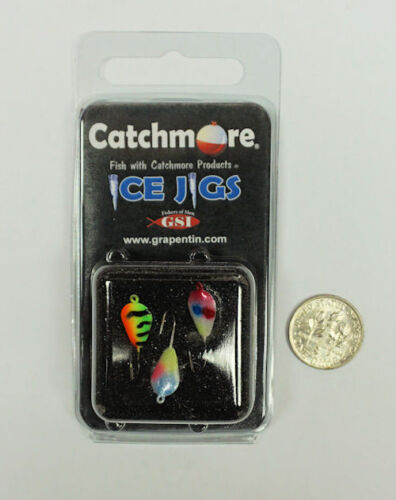 #8 Hook  #CMIJ1-3P 3 jigs per pack TWO Packs Catchmore Ice Jigs Darby Style