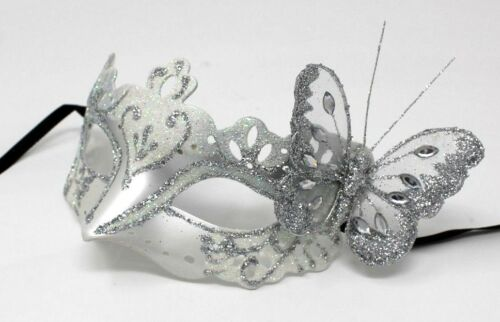 LADIES  SILVER BUTTERFLY VENETIAN MASQUERADE PARTY CARNIVAL EYE PROM BALL MASK