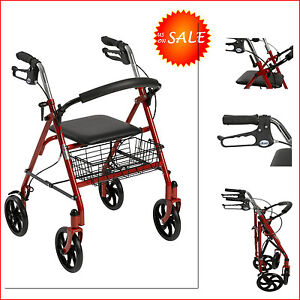 rollator rolling walker chair seat folding walking aids elderly ebay