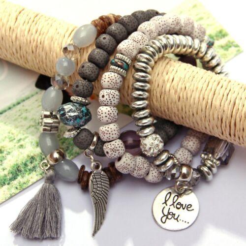 Boho Multilayer Natural Stone Bead Tassel Pendant Chain Bracelet Charm Women Set