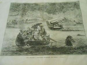 Responsable Gravure 1874 - Inde Anglaise Voyageurs Traversant Une Rivière Nombreux Dans La VariéTé
