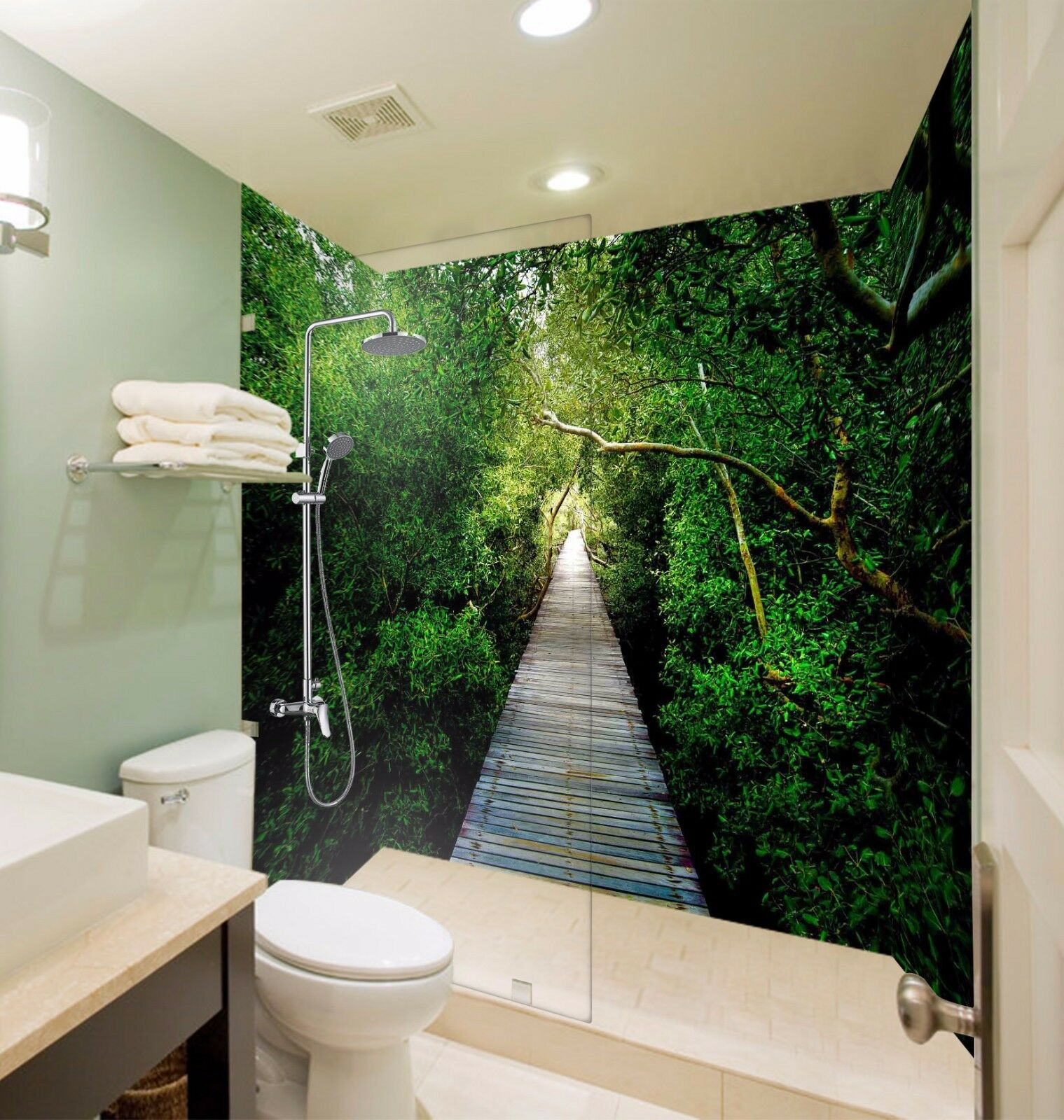 3D Green Path  7153  WallPaper Bathroom Print Decal Wall Deco AJ WALLPAPER AU