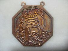 Vintage Art Deco French Lady Pendant Finding, Die Struck Brass, Champlevé Base