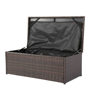 Incredible Details About Outdoor Oversize Wicker Storage Bin Patio Container Rattan Deck Box Garden Bench Pabps2019 Chair Design Images Pabps2019Com