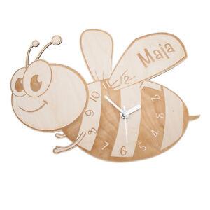 Das Bild Wird Geladen Wanduhr Biene Kinderuhr Biene Uhr Kinderzimmer  Dekoration Holz