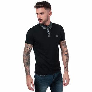 Mens-Pretty-Green-Rosler-Paisley-Poplin-SS-Polo-Shirt-in-Black