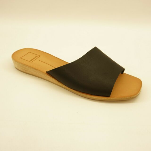 8df93f3f1 Dolce Vita Womens Shoe Hildy Demi Wedge Slide Sandals 9.5 Black Leather $100