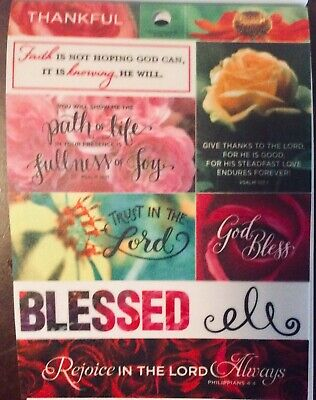 Religious Inspirational Bible Verse Floral Love Phrase Vellum Scrapbook Stickers