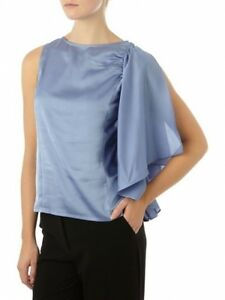 Pied-A-Terre-House-of-Fraser-RRP-55-Sky-Blue-Frill-Sleeve-Top-Shirt-Free-Ship
