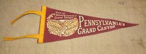 "Vintage PENNSYLVANIA'S GRAND CANYON 12"" 4-Tassel Maroon Pennant - Pine Creek"
