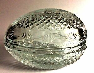 Vintage-Tiara-Exclusive-Egg-Trinket-Jewelry-Box-Clear-24-Lead-Crystal-4-5-8-034