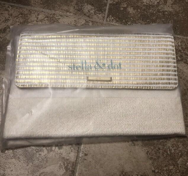 Stella & Dot City Slim Clutch-Gold Stripe New In Original Packaging