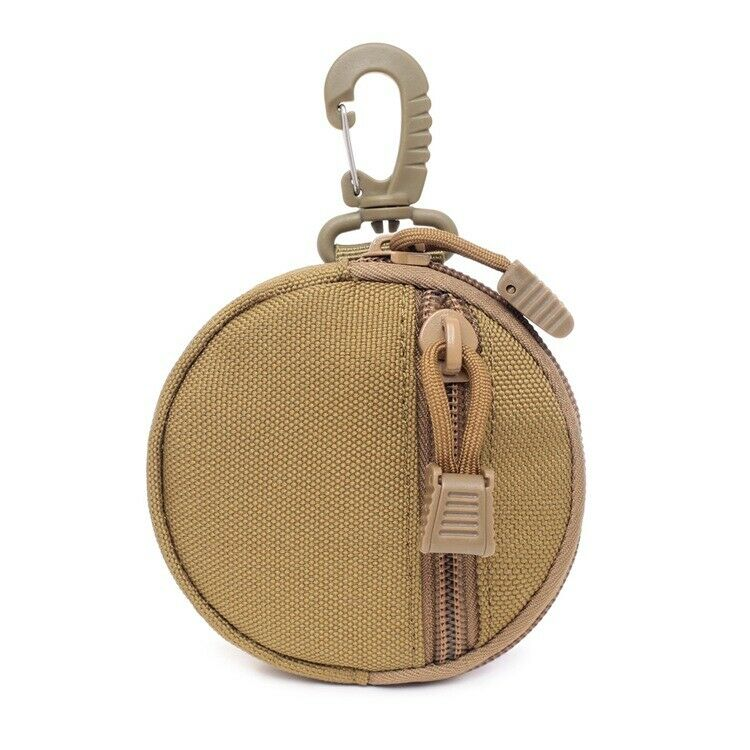 1x Khaki Waterproof Mini Nylon Key Pouch Round Shape Hooks Belt Cash Pocket Bags