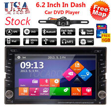 """6.2"""" GPS Navigation HD Double 2 DIN Car Stereo DVD Player Bluetooth iPod MP3"""