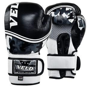 Velo-Cuero-Guantes-de-Boxeo-Entrenamiento-Mma-Lucha-Punching-Combate-Kick-Boxing