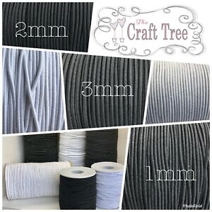 Round Elastic Cord / Twine / Rope / String 1mm, 2mm, 3mm, 5mm Available Widths