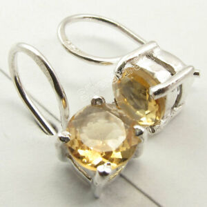YELLOW-CITRINE-GEMSTONE-925-Solid-Silver-Women-039-s-Intricate-Earrings-1-4-034-1-8-gms