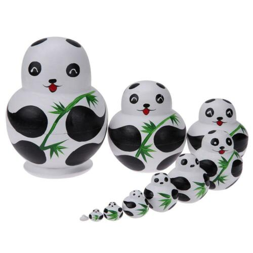 10pcs//Set Basswood Panda Nesting Dolls Handmade Matryoshka Dolls Toys Gifts