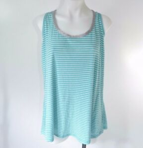 e36ee8b2fcc55 Lane Bryant Tank Top Ribbed Plus Size Blue Silver Stripe Metallic ...