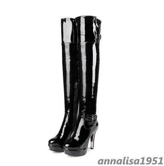 Sexy Womens STIFEL Patent Leather Overknee Stiletto hocherabsatz Zip Everyday
