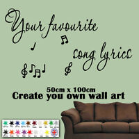 Create Your Own Song Lyrics Wall Art Sticker Decal Mural Personalised Graphics