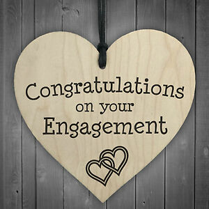Congratulations On Your Engagement Wooden Hanging Heart