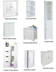 New White Wooden Bathroom Cabinet Shelf Furniture Cupboard Bedroom ...
