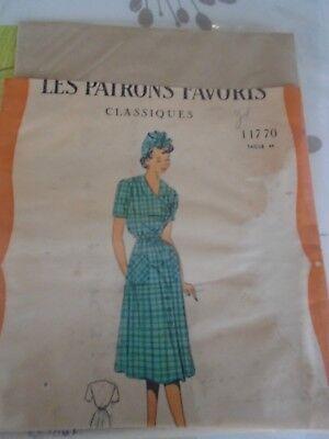 ANCIEN PATRON Favoris & Parisiens -Vintage French ROBE TABLIER T44 ...