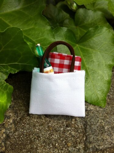 "Dollhouse Miniature Picnic Set Tote Bag Blanket Wine Glasses 1"" scale 1:12 Fairy"