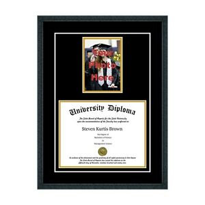 New Diploma Frame With Tassel And Double Matting School Colors Uv Asst Moldings Ebay