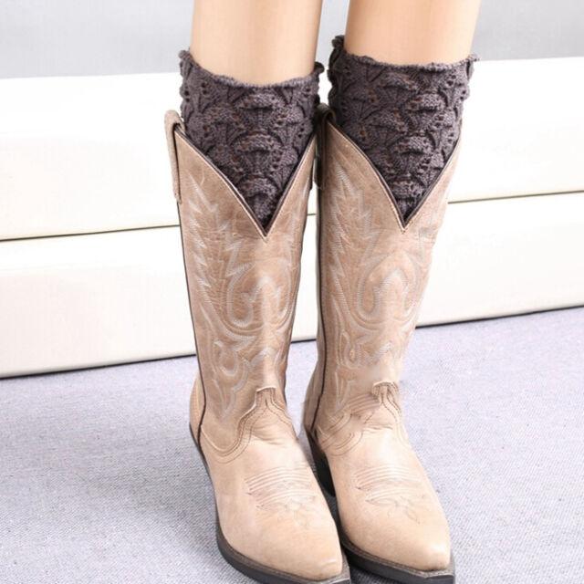 Leg Warmers Boot Socks Girls Shell Design Crochet Knit Toppers Knee Long Legging