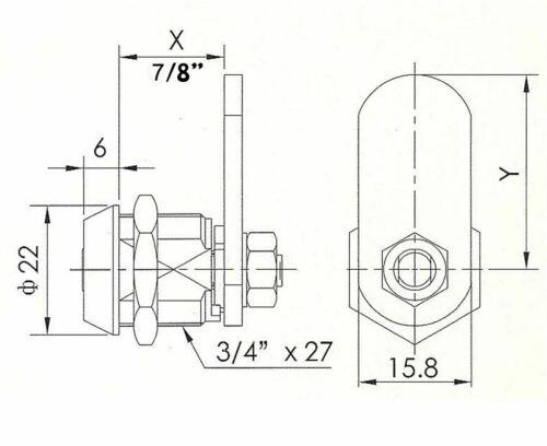 """Tubular Cam Lock with 7//8/"""" Cylinder and Chrome Finish Keyed Alike Enclosures"""