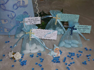 Gastgeschenk Organzasäckchen Taufe Feste Konfirmation Mädchen junge blau