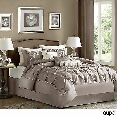 BEAUTIFUL IVORY WHITE TAN TAUPE BROWN PLEATED RUFFLE COMFORTER SET KING /& QUEEN