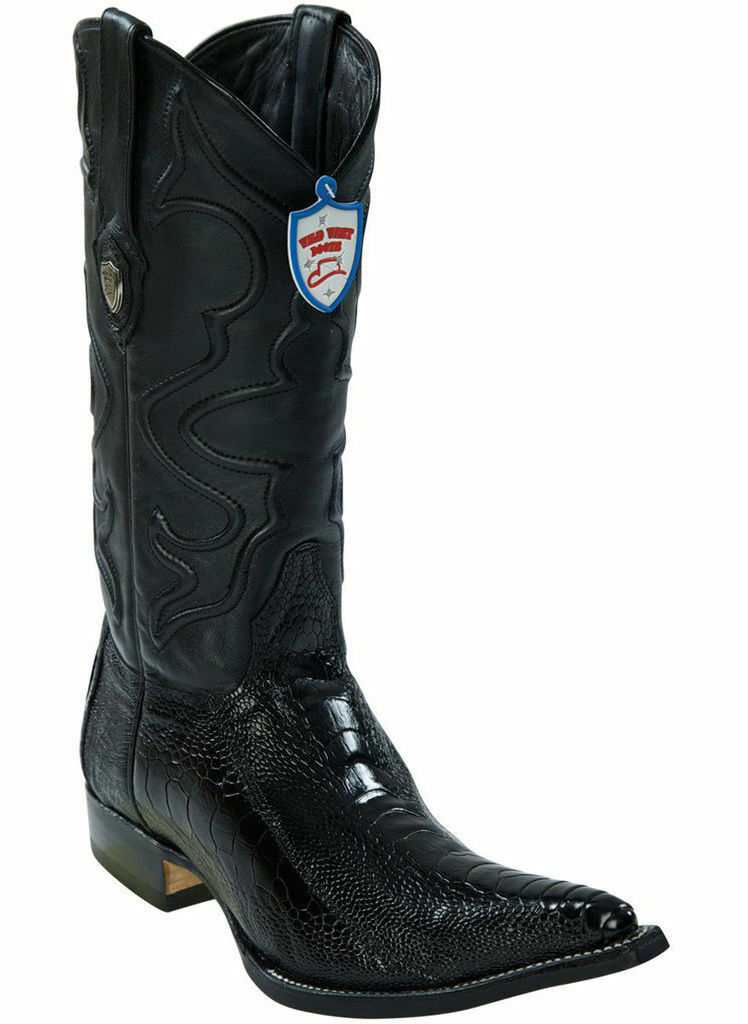 Wild West Negro 3X-TOE Genuino Avestruz pierna Western Cowboy bota (EE +)