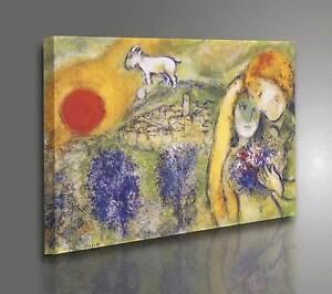 Quadro-Chagall-Gli-Amanti-di-Vence-Stampa-su-Tela-Canvas-Vernice-effetto-Dipinto