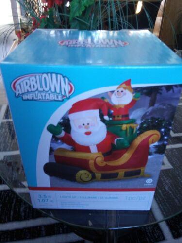 New Santa sleigh elf 3.5/' airblown inflatable lights up Gemmy blow up yard decor