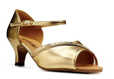 Señoras De Oro O Plata Social Zapatos de baile por collarín Katz Estilo Alison
